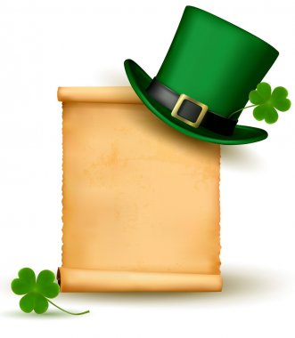 Saint Patrick Day card with clove leaf and green hat Vector illustration