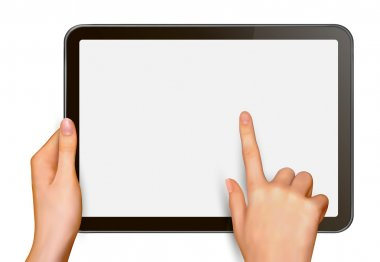 Finger touching digital tablet screen Vector illustration