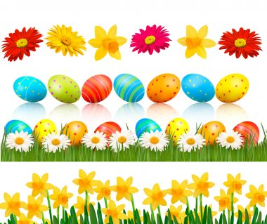 Big Easter set with traditional eggs and flowers Vector
