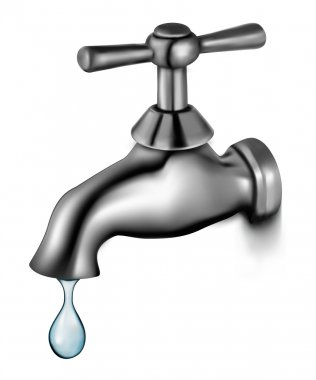Water tap with drop. Vector illustration