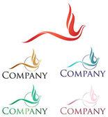 Elegáns, logo tervezés, stilizált firebird és phoenix