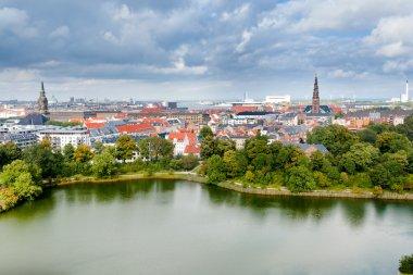 Above view on center of Copenhagen, Denmark stock vector