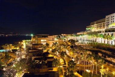 Resort on Dead Sea at night