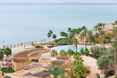 Panorama of resort on Dead Sea coast