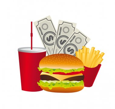 fast food with bills