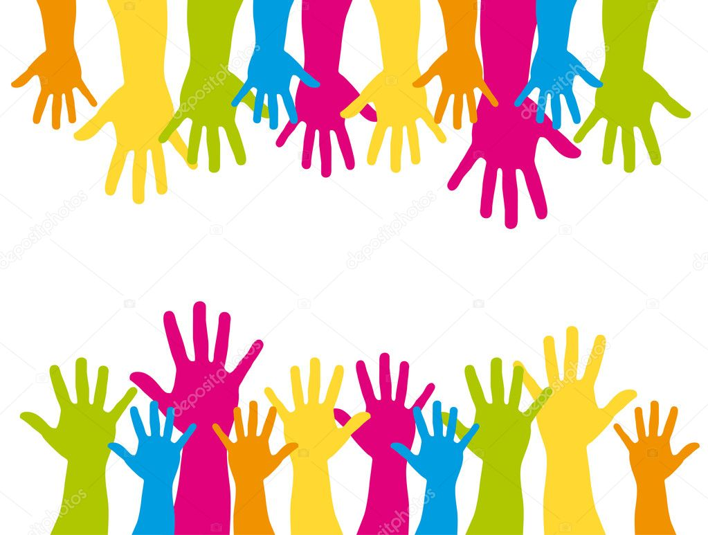 Colorful silhouette hands over white background. vector