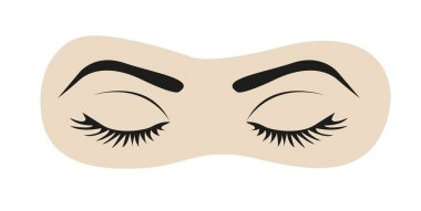 Closed eyes with eyelashes and eyebrows, vector illustration stock vector