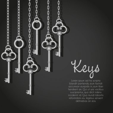 old silver keys hanging string