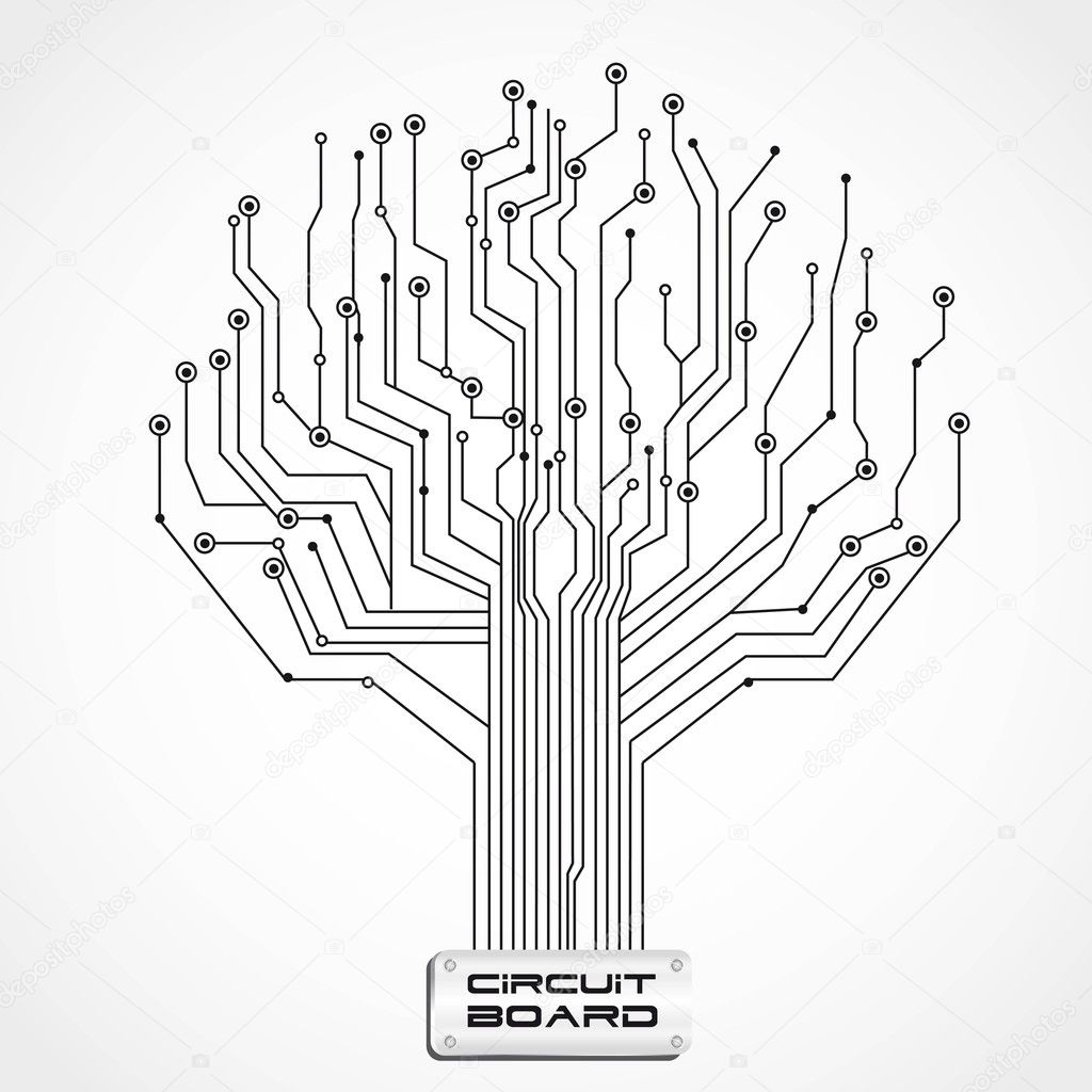 circuit board shaped tree  u2014 stock vector  u00a9 grgroupstock