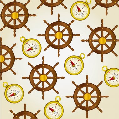 pattern of compasses and rudders