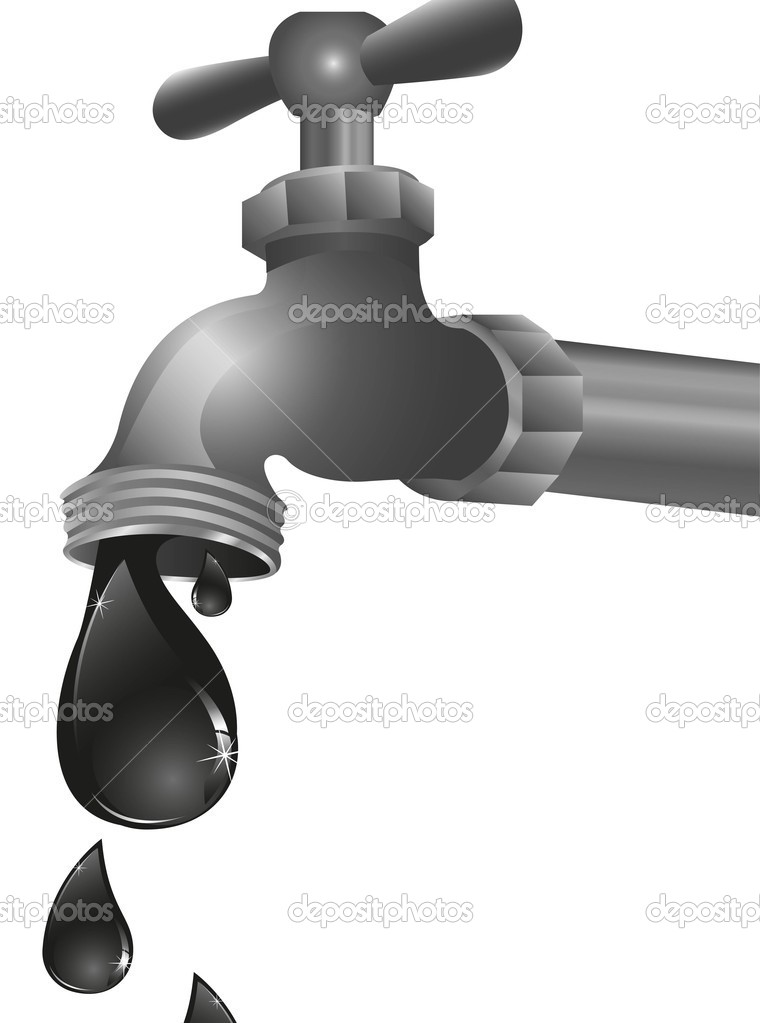 Conceptual illustration of oil leaking tap — Stock Vector