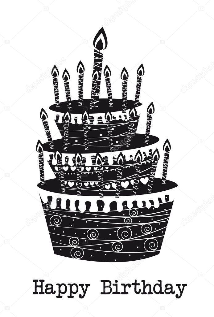 Картинка поздравление с днем рождения черно-белая