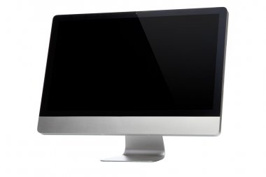 Desktop computer on a white background with black display stock vector