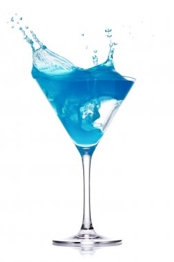 Blue curacao cocktail with splash on white