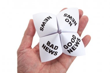 Paper Fortune Teller, Good News; Bad News; No News; News, concept of business decision stock vector