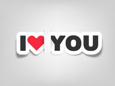 Vector i love you; realistic cut, takes the background color clip art vector