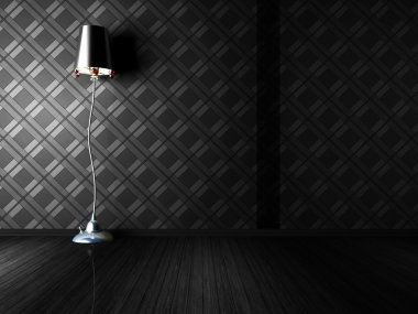 Classic floor lamp in a dark room
