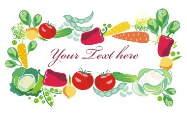 Vector border for text with decorative vegetables