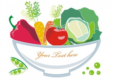 Vector vegetables on the plate with frame for text