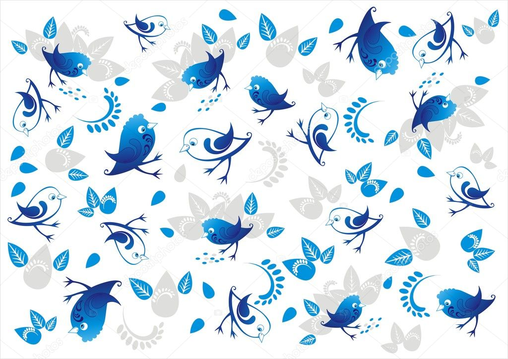 Vector decorative background with ornamental blue birds, flowers, seed