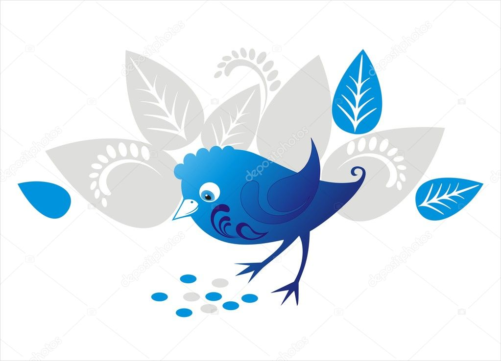 Vector decorative blue bird with ornamental flowers, seed and leaves