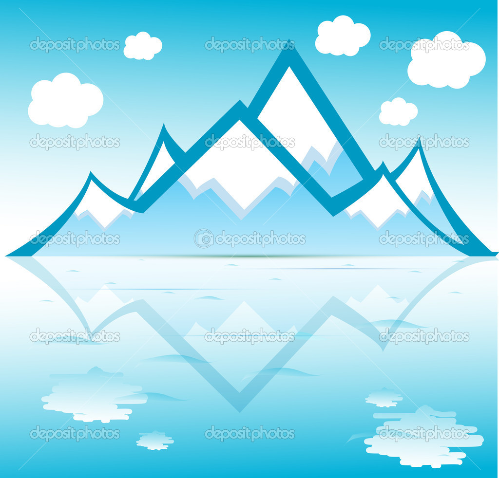 Mountain with clouds reflected on water vector format