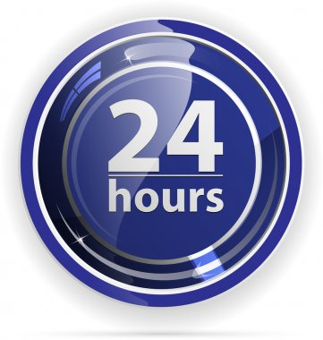Glossy 24h Service button for web applications. vector format