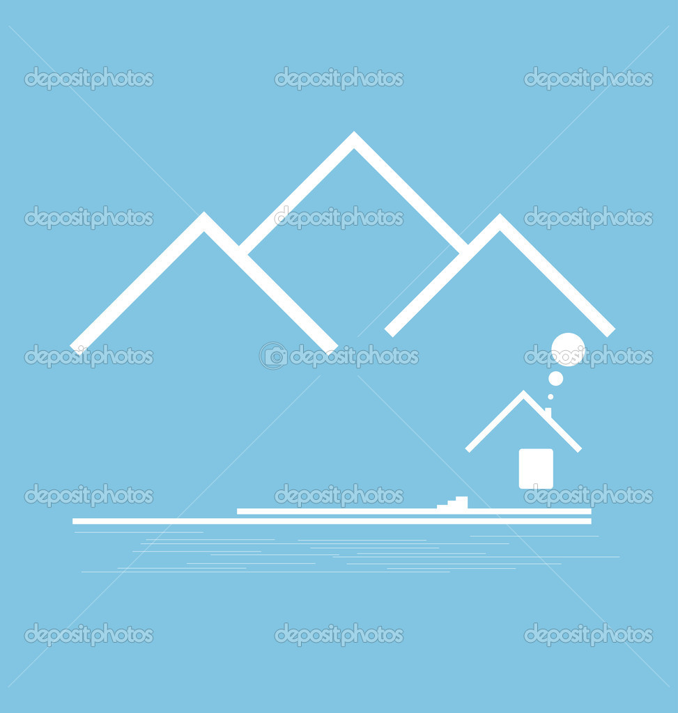 Mountain stylized with building vector format