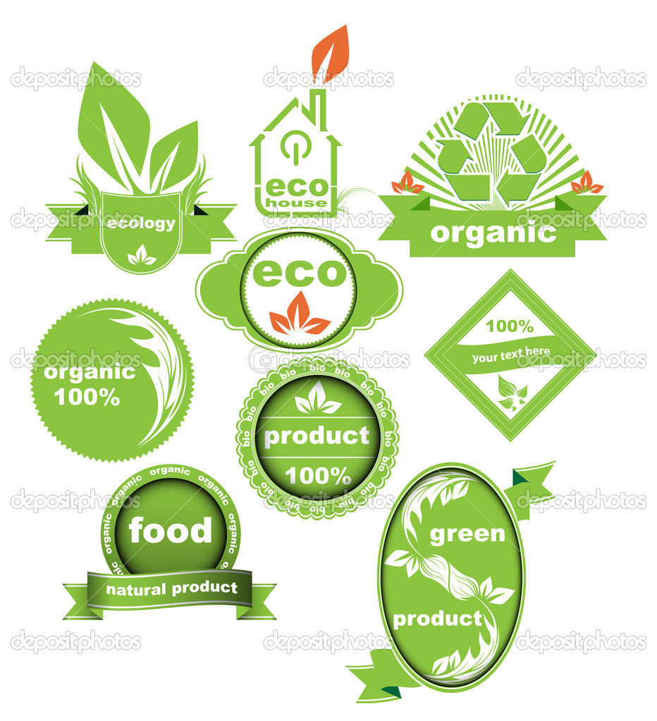 Set of Eco And Bio Labels Elements Vector Collection