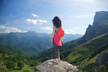 Back trekking woman in Picos de Europa