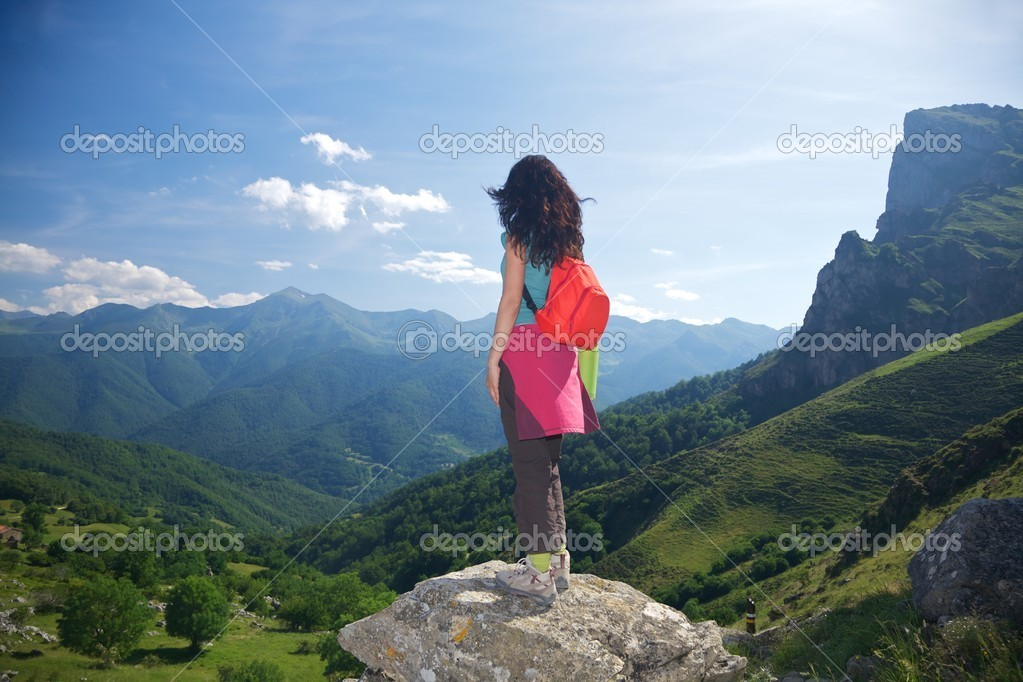Back trekking woman in Picos de Europa