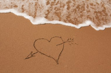 Hand drawn heart on the sand