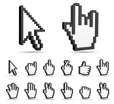 Cursor,hand sign icons.