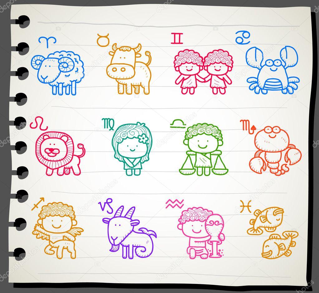 Hand drawn Zodiac icon set