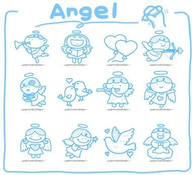 Hand drawn Angel icon set