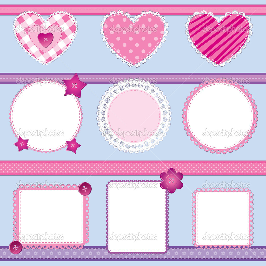 Scrapbook elements pink set 2 stock vector toranoko 8068580 scrapbook elements set in pink and lilac perfect for baby girl birthday and wedding themes vector by toranoko junglespirit Image collections