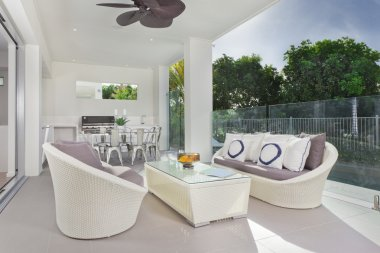 Modern under cover patio