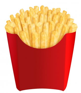 French fries in red packaging