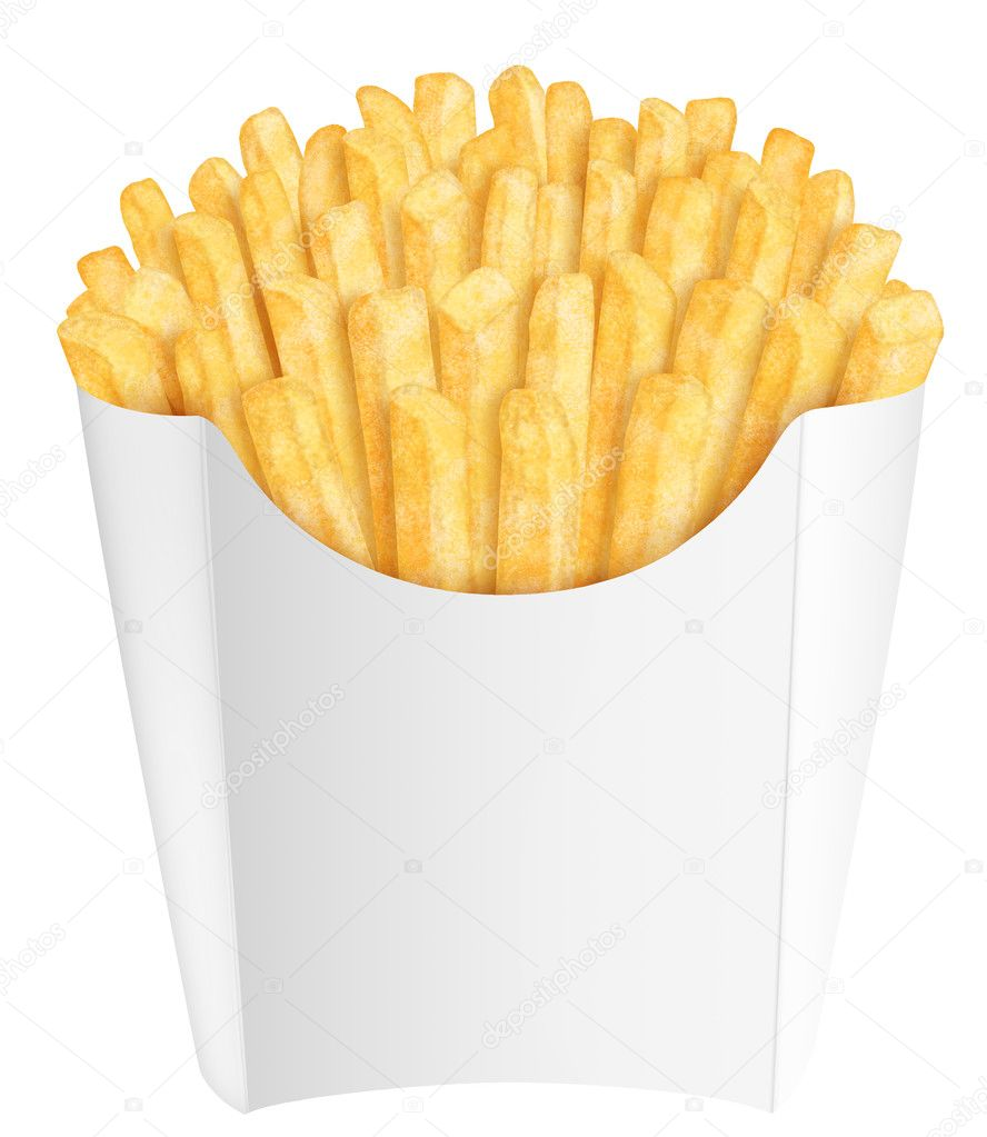 French fries in white packaging