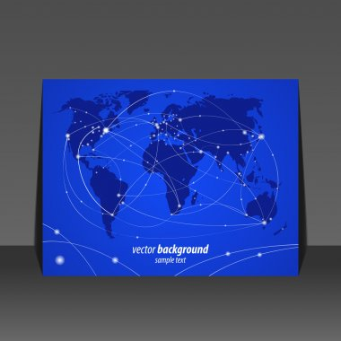 Vector illustration night travel world map flyer design