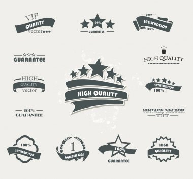 Set of vintage retro premium quality badges and labels clip art vector