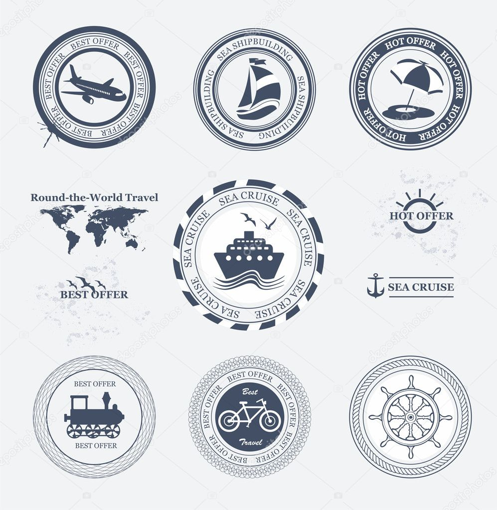 Set of vintage retro tourist badges and labels