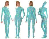 Fotografie helle uv-reaktive Pyjama-Stil Zentai catsuit