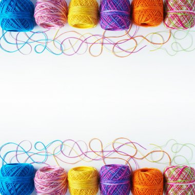 Yarn coils on white