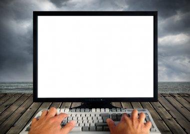 Blank computer monitor