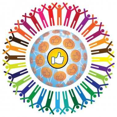 Global social teamworking concept with like symbol