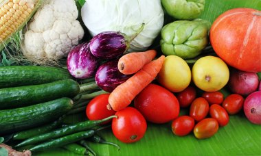 Colorful organic vegetables from farm on display