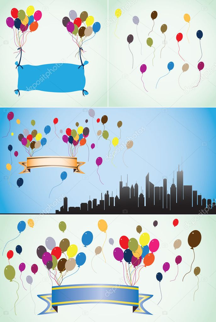 Colorful balloons blank banners and ribbons stock vector colorful balloons blank or empty banners and ribbons can be used for birthday cards other party occassions cmyk global process colors used bookmarktalkfo Choice Image
