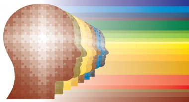 Colorful puzzle heads of men in row in rainbow colors