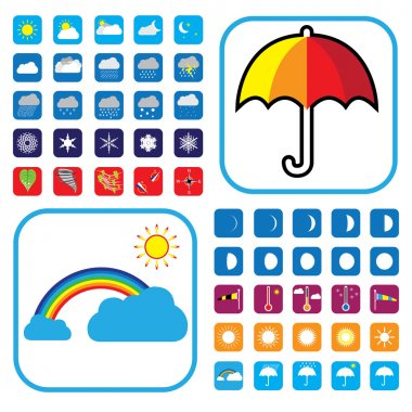 Weather icons set showing 50+ signs and symbols